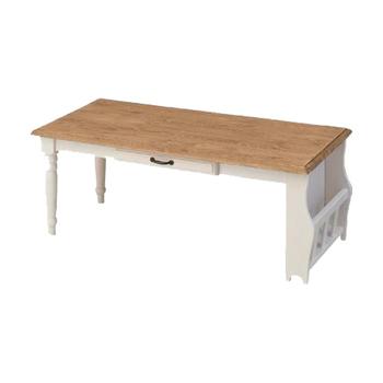 小物も雑誌もちょこっと収納♪ センターテーブル 【送料無料】 ローテーブル 引き出し付き マガジンラック付き センターテーブル カントリー調 ホワイト おしゃれ かわいい テーブル ロー 送料無料 激安 姫系 ローテーブル