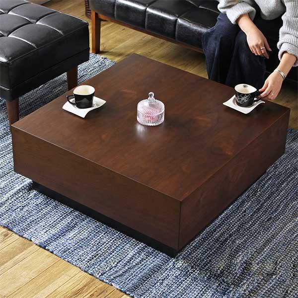 テーブルの中はどでかい収納♪ 引き出し付き ローテーブル 80×80 完成品 【送料無料】 センターテーブル 収納 大きい 正方形 おしゃれ 木製 ウォールナット 低め モダン リビングテーブル 引き出し