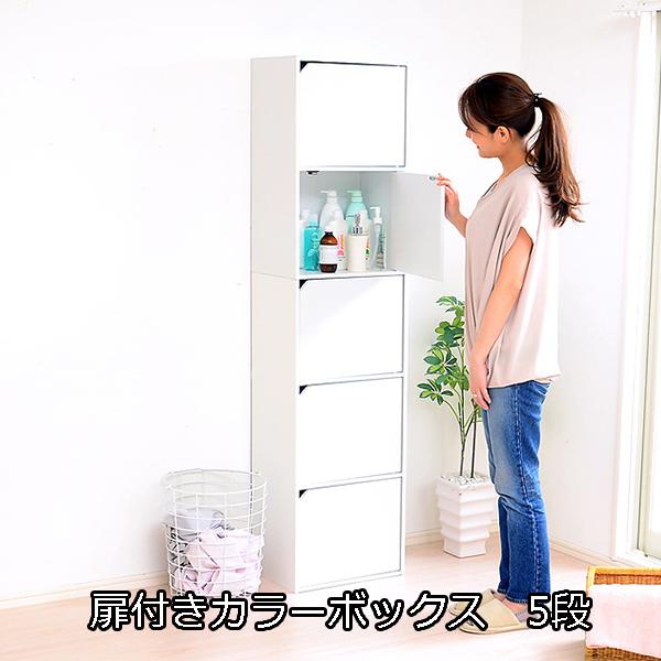 A4サイズ収納OK♪ 扉付きカラーボックス 5段 【送料無料】 激安 安い 木製 収納ボックス 扉付き おしゃれ 扉付き本棚 縦置き 横置き 格安