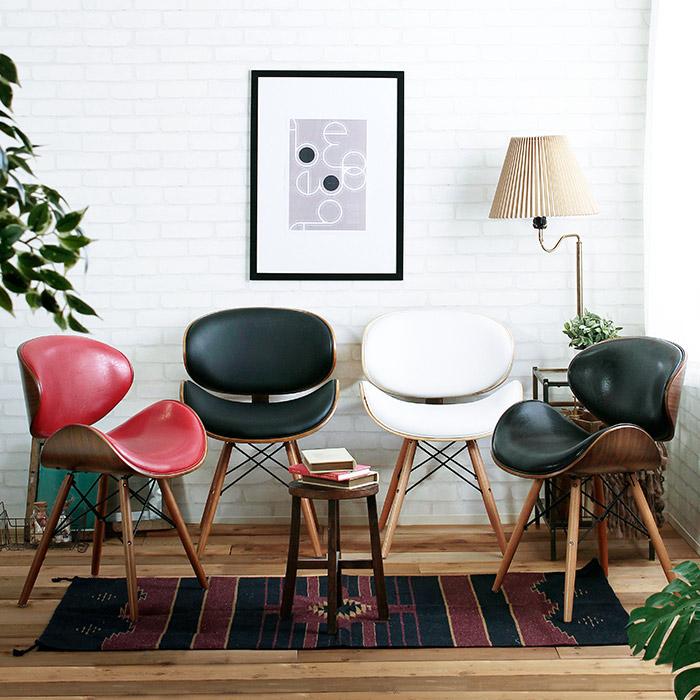 革と曲げ木で優しく包む♪ プライウッド 曲げ木チェア 【送料無料】 レザーチェア レトロチェア 椅子 合皮 クッション おしゃれ かわいい 合成皮革 かわいい レッド ブラック ホワイト