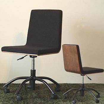 ウォールナットの背板が大人の雰囲気♪ デスクチェア 【送料無料】 キャスター付き 椅子 パソコンチェア オフィスチェア 木製 おしゃれ 激安 ワークチェア 回転 事務椅子 昇降式 安い ガス圧 5本脚 学習チェア