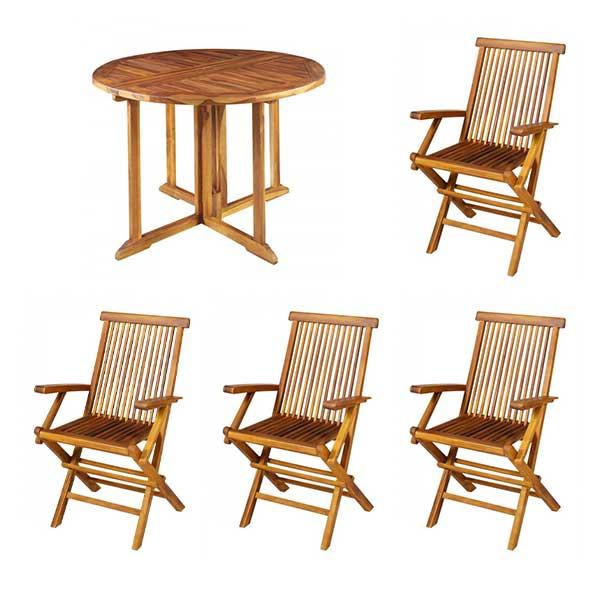 【スーパーセール】 ) 円形テーブル ガーデンテーブルセット 屋外用 椅子もテーブルも折り畳み式♪ ベランダ用  テーブルセット:SEMI-STYLE おしゃれ 高級 カフェ ( 木製 ガーデンファニチャー 肘ありチェア4脚 5点セット 折りたたみ 【送料無料】-エクステリア・ガーデンファニチャー