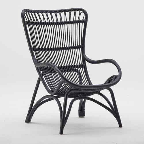 ラタン ハイバックチェア Monet / ブラック (Sika Design / シカデザイン) 【送料無料】【smtb-F】