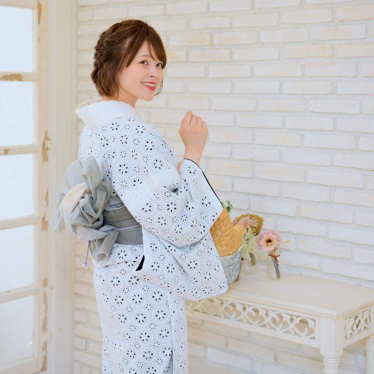 着物 セット レディース きもの 3点セット(着物/帯/下駄)日本製生地 国産生地 袷 あわせ 浴衣のように長襦袢なしで気軽に着ても◎ 綿100% コットン ファブリック着物 レース 刺繍レース 白 ホワイト 黒  浴衣セット ゆかた 女性 レトロ フリーサイズ