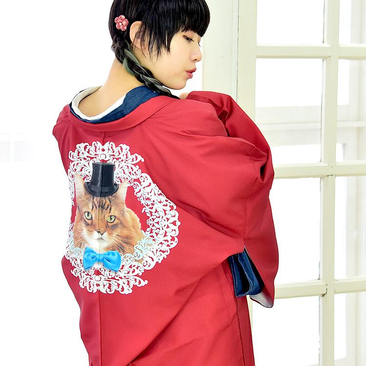 【あす楽】 羽織 長羽織 袷 和装 レディース 女性 コート アウター 大正浪漫 絵羽 フリーサイズ ポリエステル 赤 猫 リアル 個性的 着物 きもの