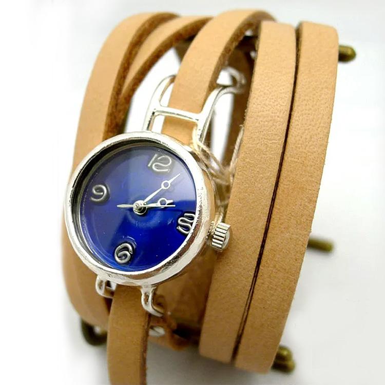 着けているだけで癒され和む 愛着がわくハンドメイド腕時計★選べるベルト4色『渡辺工房 Coil1-S カラーダイヤル 腕時計』アンティーク/リストウォッチ/革ベルト/レディース/ギフト/ニコアンティーク 06-14-28-001