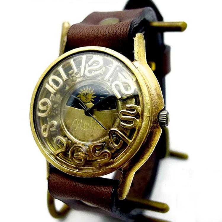 アンティークな太陽と月が時を刻む★選べるベルト8色『渡辺工房 S-WATCH7-B-S&M 腕時計』アンティーク/リストウォッチ/革ベルト/レディース/メンズ/からくり/ギフト/ニコアンティーク 06-14-28-005