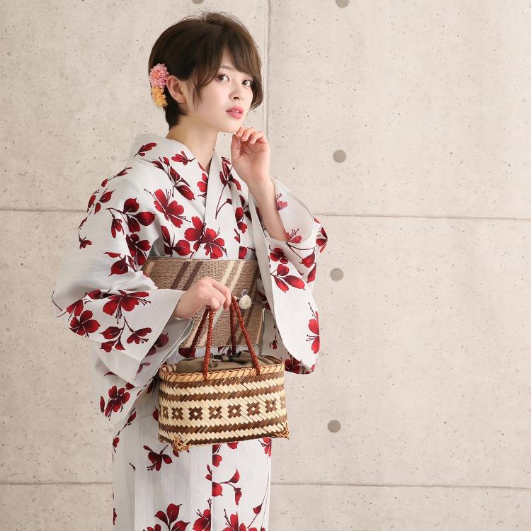 浴衣 レトロ 3点セット(浴衣/帯/下駄)  臙脂系 白 レッド 花柄 ナチュラル 日本製 国産 綿 麻 レトロモダン 上品 古典 浴衣セット レディース 女性 フリーサイズ Mサイズ