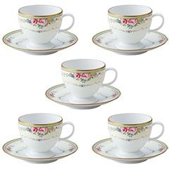 山加商店 日本製カップ&ソーサー 5客コーヒーセット ES101-2(ベルサイユ)