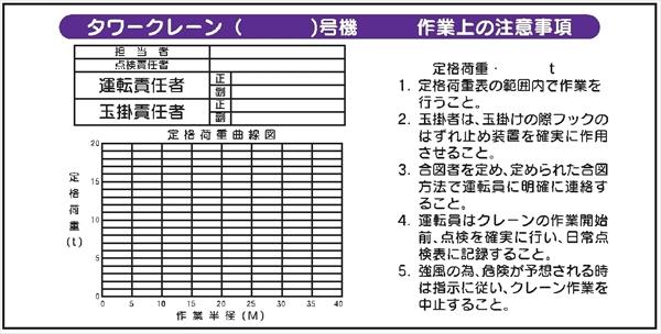 【決算セール中!!】 WH2 タワークレーン 作業場の注意事項 仙台銘板