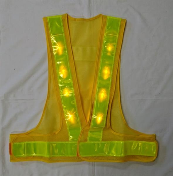 【10枚セット】黄色 LEDベスト LEDチョッキ 安全ベスト 安全チョッキ 黄/黄 仙台銘板