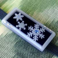 アイスブルーの結晶帯留 四角 激安格安割引情報満載 美品 黒 商品番号 WA-078