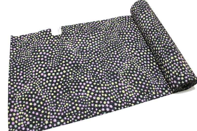 東レシルック-小紋柄反物-No.062【地色:黒色/小紋柄/送料無料/日本製品/着物一着分/12.0メートル以上/巾約39.0センチ/東レ シルック小紋】