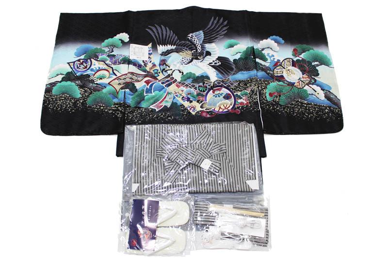 お買い得品/五歳男児お祝い着-A-1-黒縞袴(七五三/羽織色:黒色/着物の色:黒色/袴の色:黒色縞袴/アンサンブルセット)【送料無料】こちらは箱無しとなります。