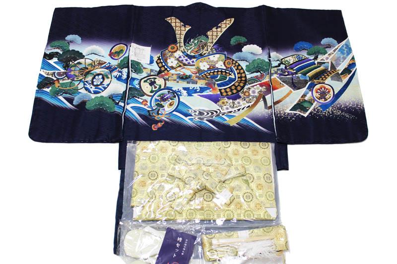 お買い得品/五歳男児お祝い着-C-2-k-16(七五三/羽織色:紫色/着物の色:黒色/袴の色:金色金襴袴/アンサンブルセット)【送料無料】こちらは箱無しとなります。