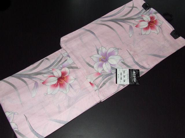 綿絽浴衣-No.154【地色:ピンク色/送料無料/国産品・浜松/綿100%】