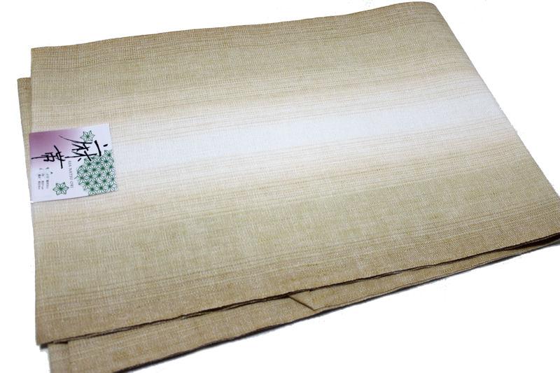 麻素材八寸名古屋帯(地色:黄土色ぼかし/麻100%/仕立て上がり/送料無料/日本製品)
