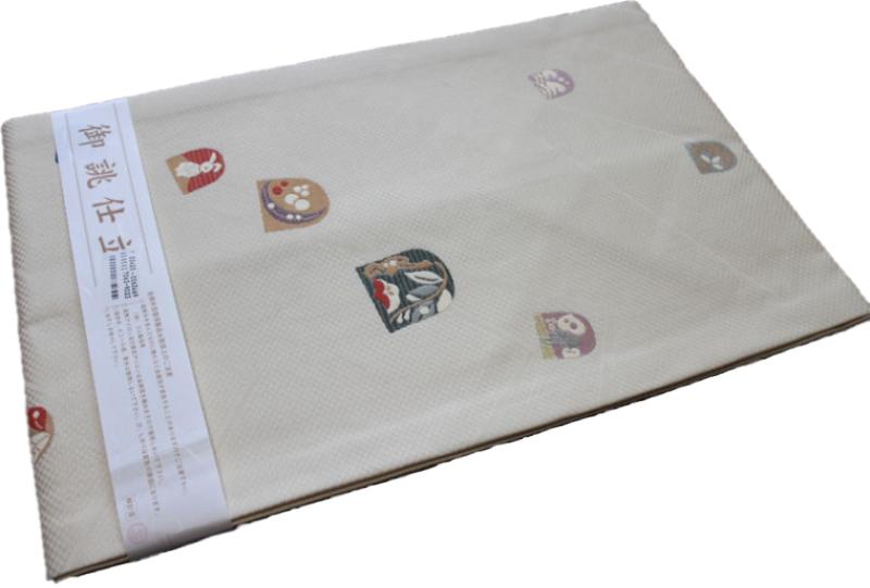 正絹西陣織り名古屋帯-No.033(地色:オフホワイト・クリーム系色/織り柄/送料無料/日本製品)