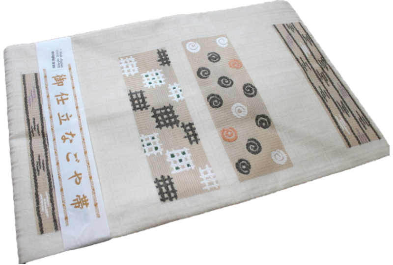 正絹西陣織り名古屋帯-No.037(地色:オフホワイト・クリーム系色/織り柄/送料無料/日本製品)