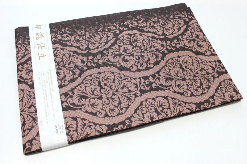 正絹西陣織り名古屋帯-No.120(地色:焦げ茶色/織り柄/送料無料/日本製品)