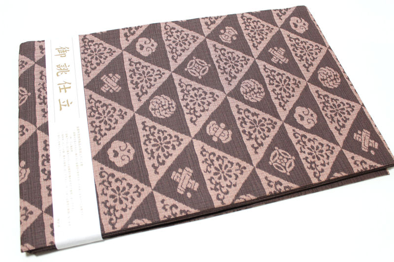 正絹西陣織り名古屋帯-No.122(地色:焦げ茶色/織り柄/送料無料/日本製品)