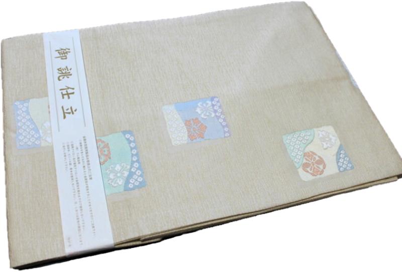 正絹西陣織り名古屋帯-No.156(地色:ベージュ系/織り柄/送料無料/日本製品)
