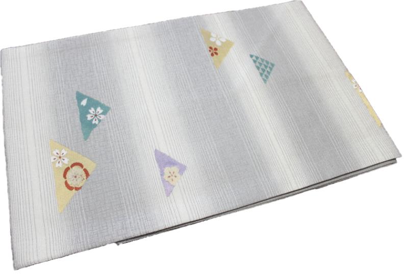 正絹西陣織り名古屋帯-No.175(地色:薄灰色×白色/織り柄/送料無料/日本製品)