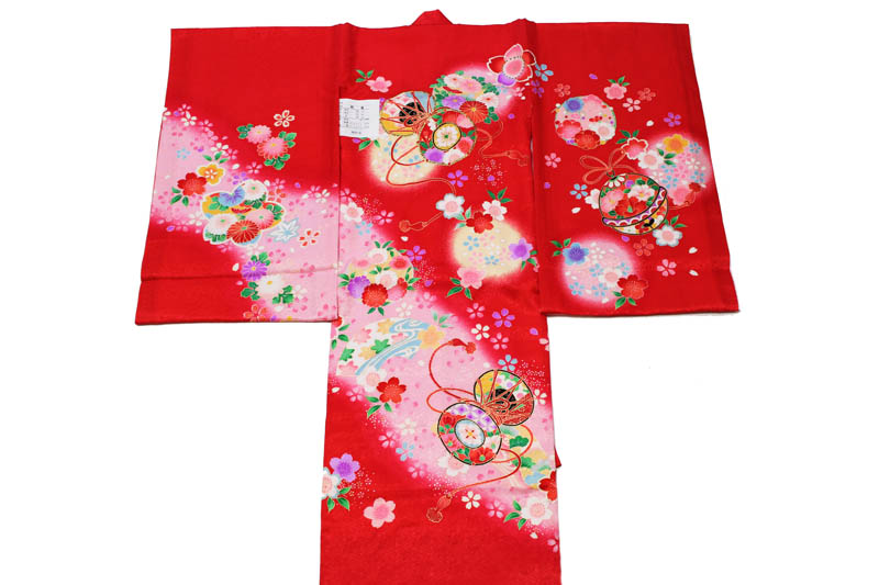 【販売品】女児お宮参り着-No.053(地色:赤色 地紋入り/産着/初着/のしめ・送料無料)