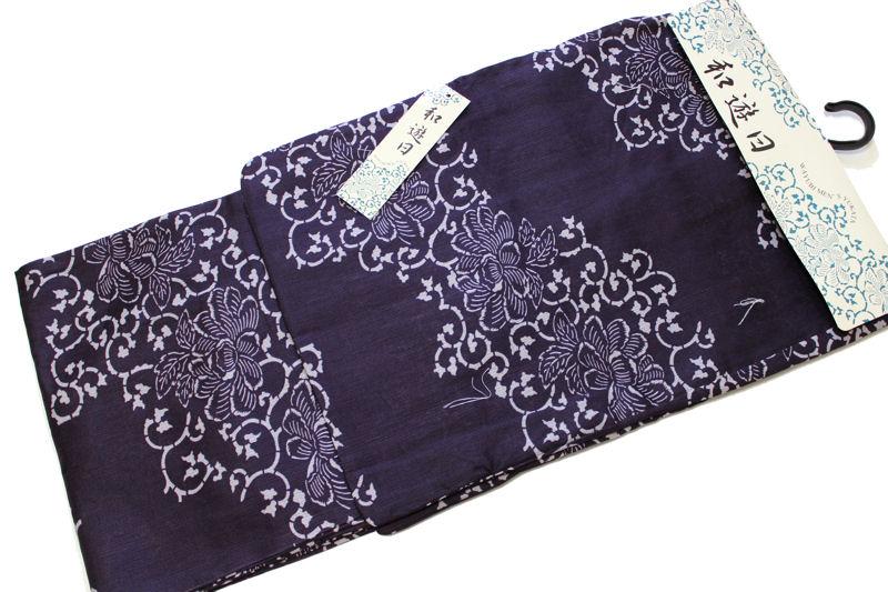 男性用綿麻素材の浴衣-No.010(各サイズ有り/地色:紫色/男性用/単品/綿80%麻20%/送料無料)