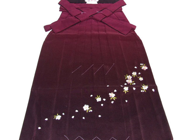 Women's embroidered Bokashi hakama (graduation) No.002-d( wine color shading )-l size-95