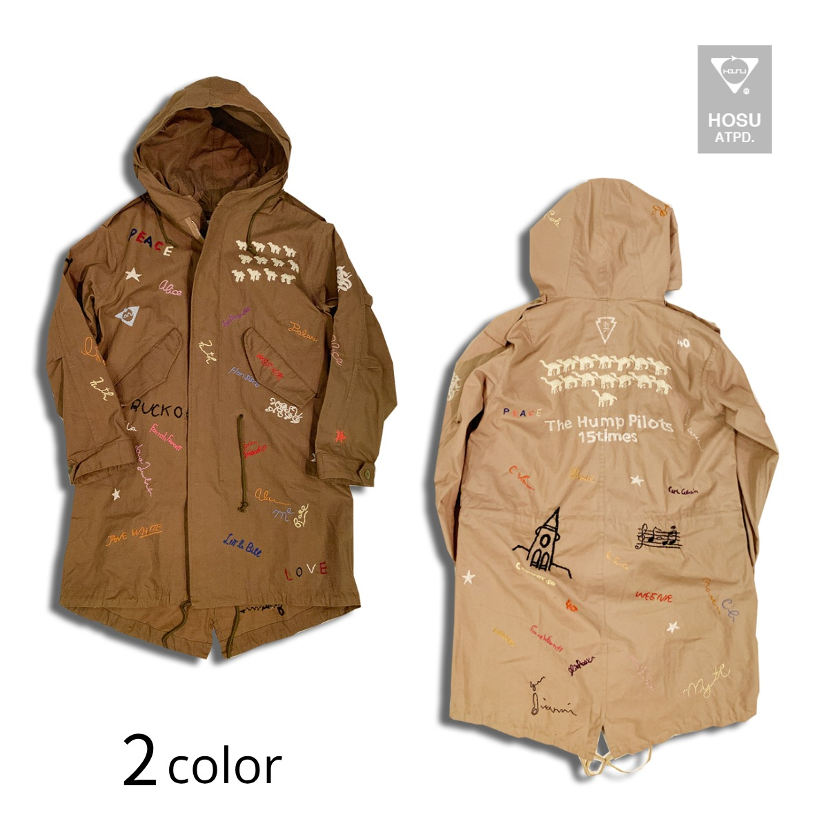 HOSU HAND EMBROIDERY MODS COAT ホス 手刺繍 モッズコート 2色4サイズ