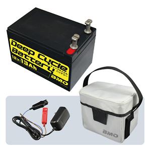 BMO ディープサイクルバッテリー13Ah 本体、チャージャー、バッグセット