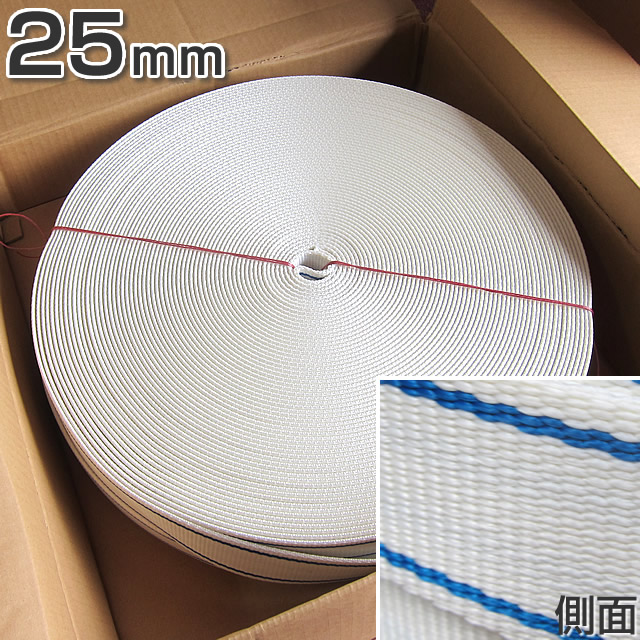ホーサーPETベルトカバー 幅25mm × 長さ100m × 厚み3.8mm 白色・青線入 【東京製綱繊維ロープ】