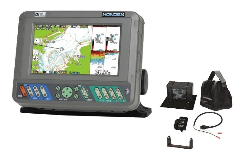 HONDEX(ホンデックス) PS-700GP-Di(S)バリューセット 新型 GPSプロッター魚探 デジタル方式魚探600W バッテリーセット(BS-06)付属(HONDEXオリジナル全国地図仕様)