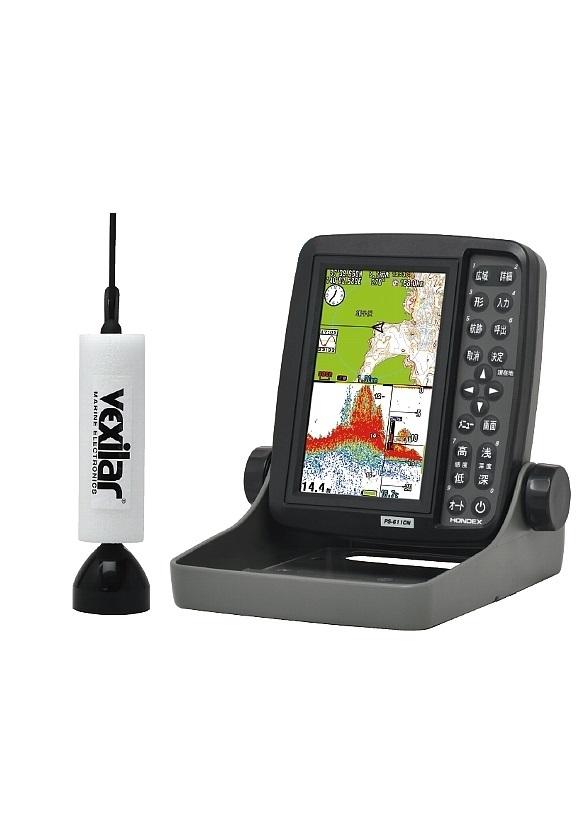 即納可!HONDEX(ホンデックス) PS-611CNワカサギパック 5型ワイドカラーポータブルGPSプロッター魚探 吊下げ型振動子TD07セット