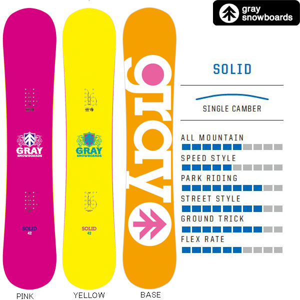 17/18GRAY SNOWBOARD【SOLID】