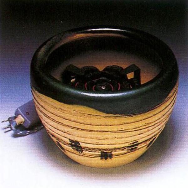 茶道具 火鉢手あぶり火鉢 織部(灰皿付) ※この商品は取り寄せ品になります。