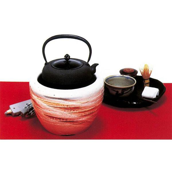 茶道具 火鉢手あぶり火鉢 志野(灰皿付)●写真はイメージです。鉄瓶、茶道具は別売です。 ※この商品は取り寄せ品になります。