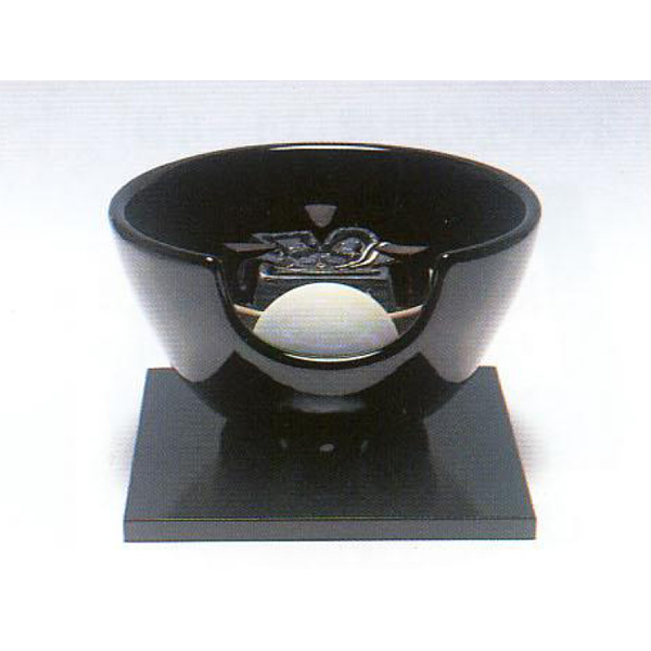 茶道具 風炉 黒・紅鉢型 陶製 ※この商品は取り寄せ品になります。