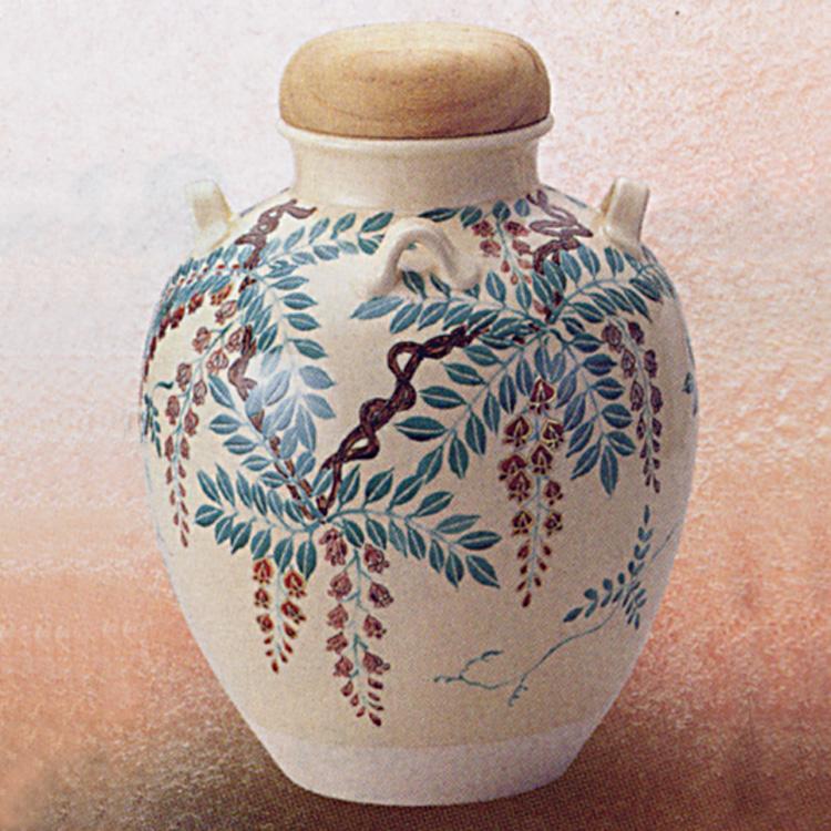 茶道具 飾壺 仁清写 藤(網・正絹紐・おおい付) 菁宝 口切り(茶道具 通販 )