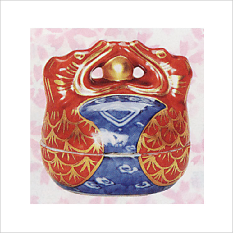 茶道具 香合 金襴手 木魚 高野昭阿弥 香合(茶道具 通販 )