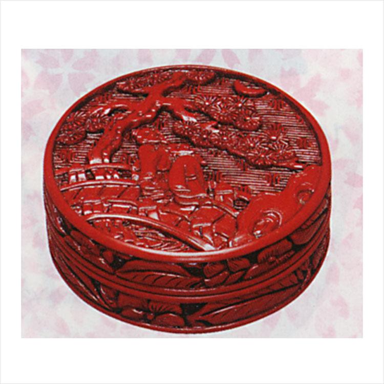 堆朱香合松下観月図尾吉蔵香合(茶道具通販)