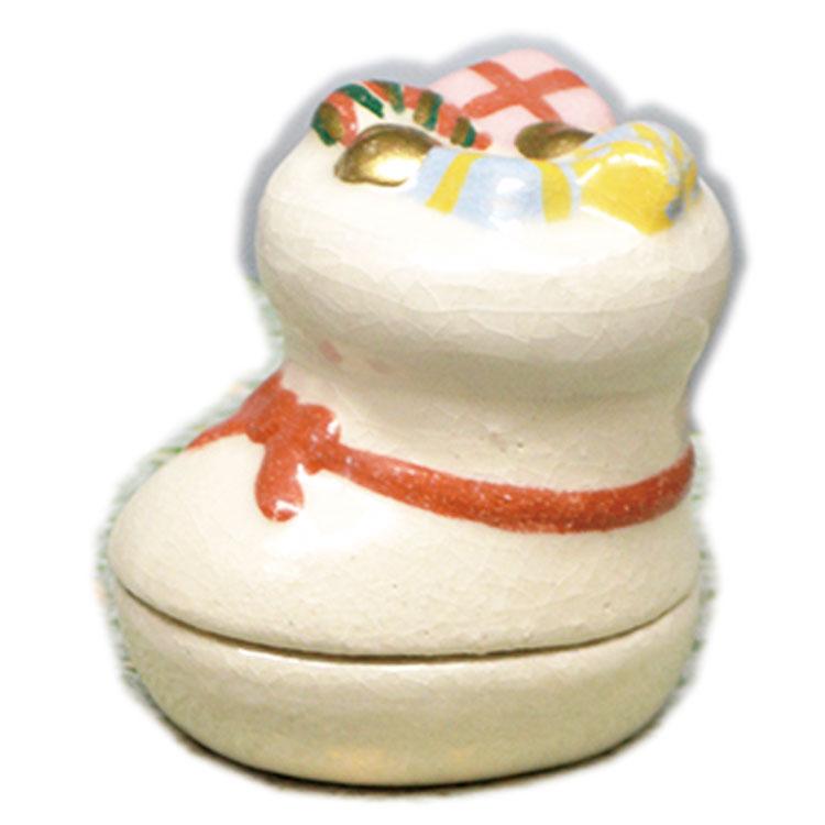 茶道具 香合(こうごう) 香合 サンタのブーツ 吉村 楽入 作