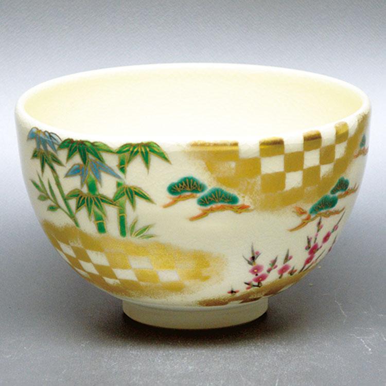 茶道具 抹茶茶碗(まっちゃちゃわん) 茶碗 市松松竹梅 山岡 善高 作