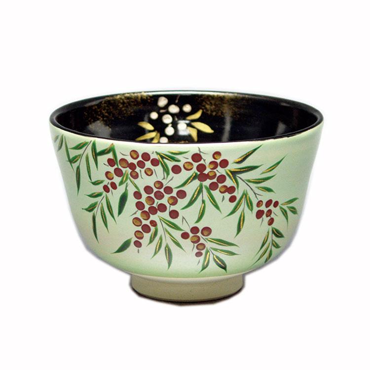 茶道具 抹茶茶碗(まっちゃちゃわん) 茶碗 雲母銀 南天 内黒 中村 与平 作