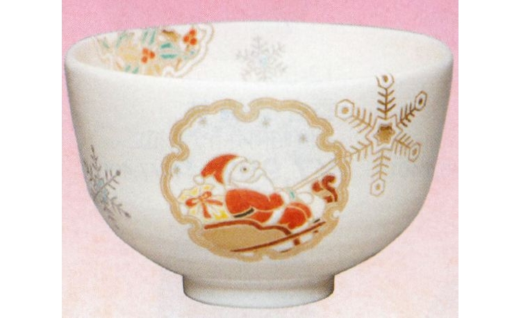 茶道具 送料無料 茶碗 仁清 雪輪サンタ(茶道具 クリスマス)茶道 抹茶椀 抹茶 茶器 茶椀 茶わん ちゃわん ギフト 千紀園