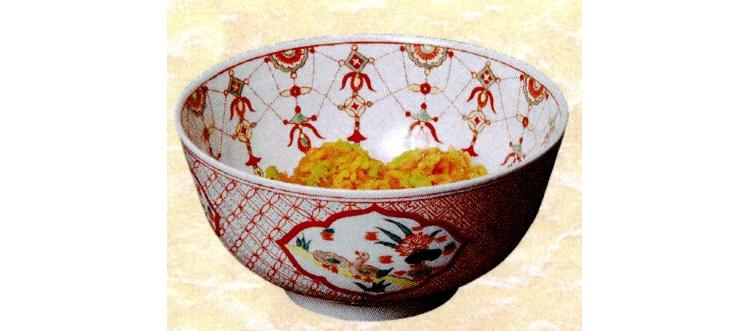茶道具 菓子鉢 景徳鎮 赤絵小紋 王懐英作 菓子器