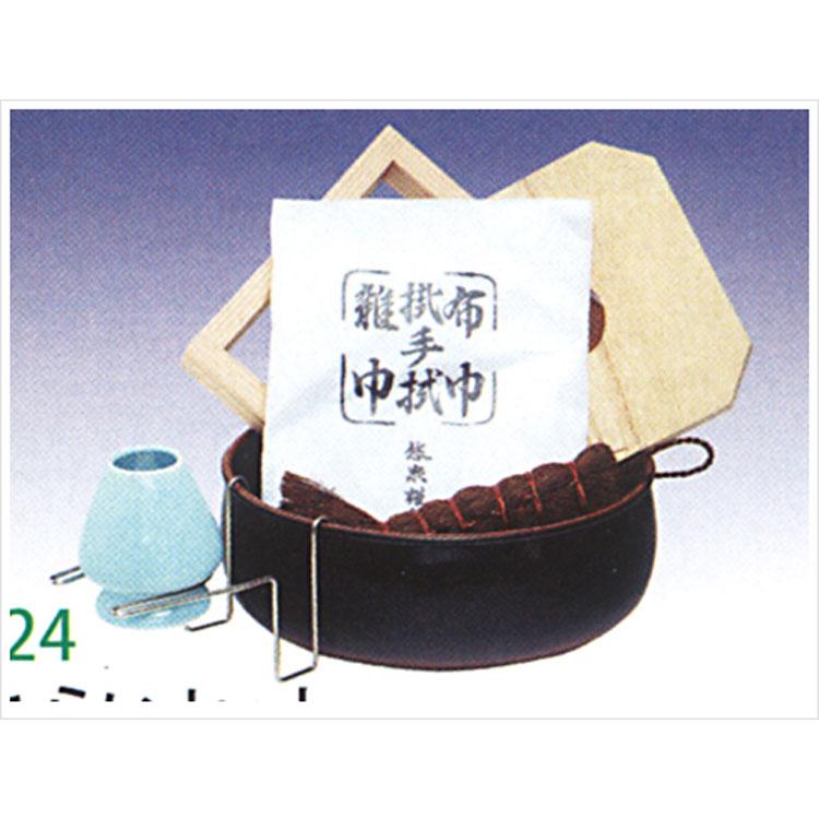 茶道具 茶巾たらいセット (茶筌休・ホルダー・釜底タワシ・水屋雑巾・杉釜据・板釜敷) (茶道具 通販 )