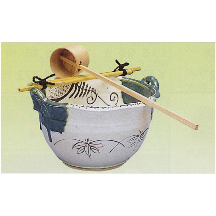 茶道具 手洗鉢 織部 尺〇 三点セット 「ツクバイ杓・筏」付 手洗鉢(茶道具 通販 )
