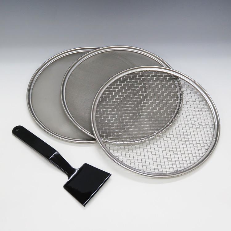 茶道具 ステンレス製三枚組灰ふるい 表流 (7メッシュ/65メッシュ/100メッシュ) 灰ふるい(茶道具 通販 )